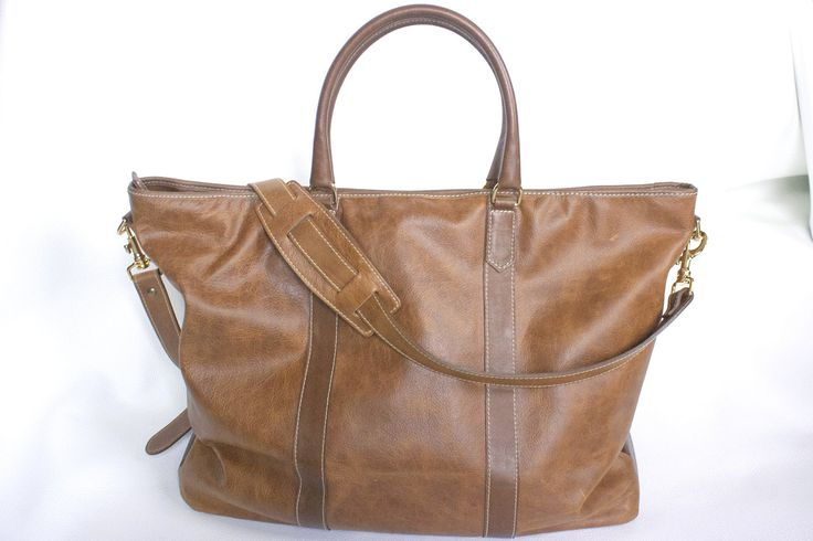 Leather Tote Weekend Bag by NBDLeather on Etsy