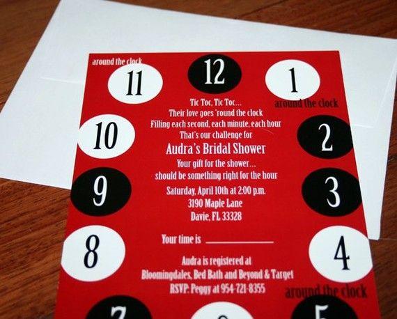 Around The Clock Bridal Shower Invitation By Everafterdesign6 1500