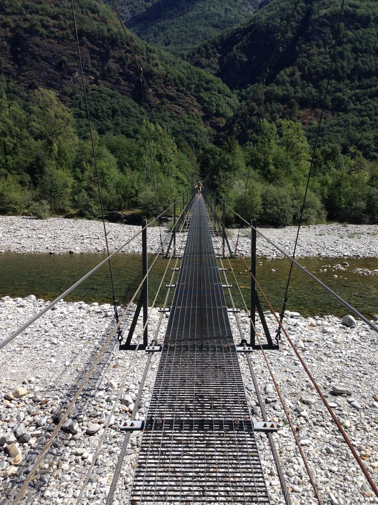 crossing Valle Maggia on this hanging bridge