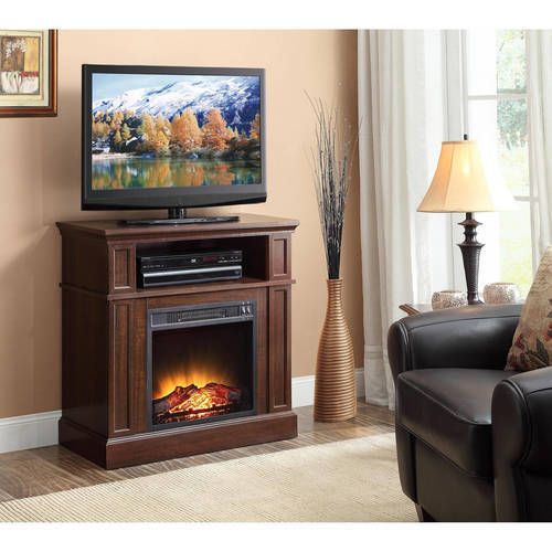 Fireplace TV Stand Wood Media Console Electric Entertainment Center Heater Flame #FireplaceTVStand