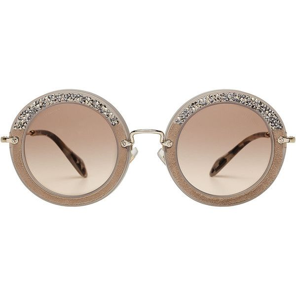 Miu Miu Noir Embellished Round Sunglasses (£225) ❤ liked on Polyvore featuring accessories, eyewear, sunglasses, beige, rounded glasses, miu miu sunglasses, round sunglasses, miu miu eyewear and round glasses