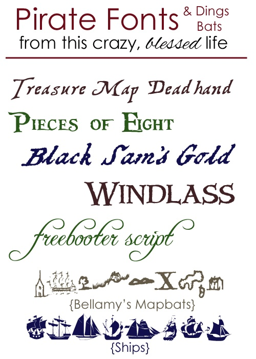 Pirate Font Round-up... because it's National Talk Like A Pirate Day!  ;o)