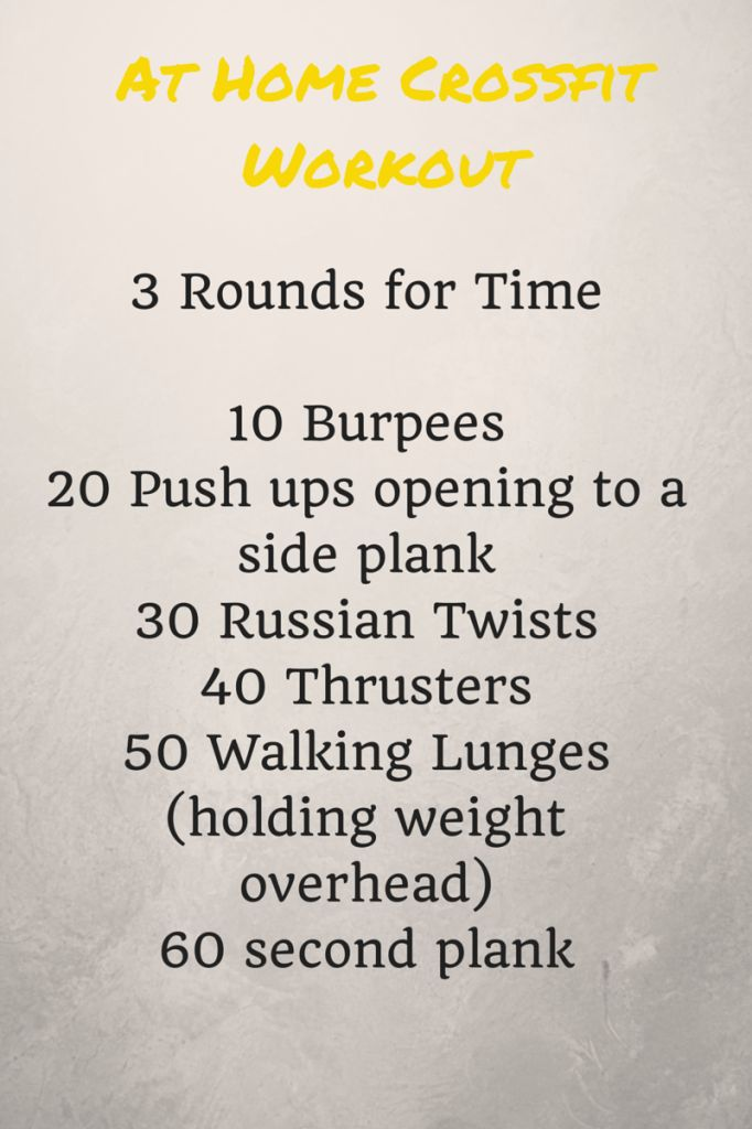 """For my crossfit friends/followers!  """"At home crossfit workout.   Still hate burpees, but this looks like a good one."""""""