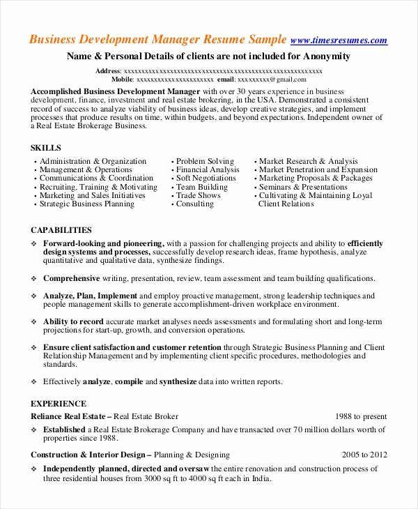Business Development Manager Resume New 32 Manager Resume Templates Pdf Doc