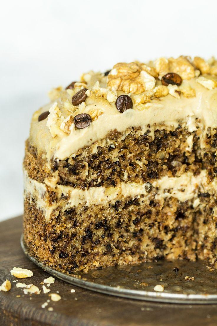Vegan Walnut Cake with Coffee Frosting | Lazy Cat Kitchen
