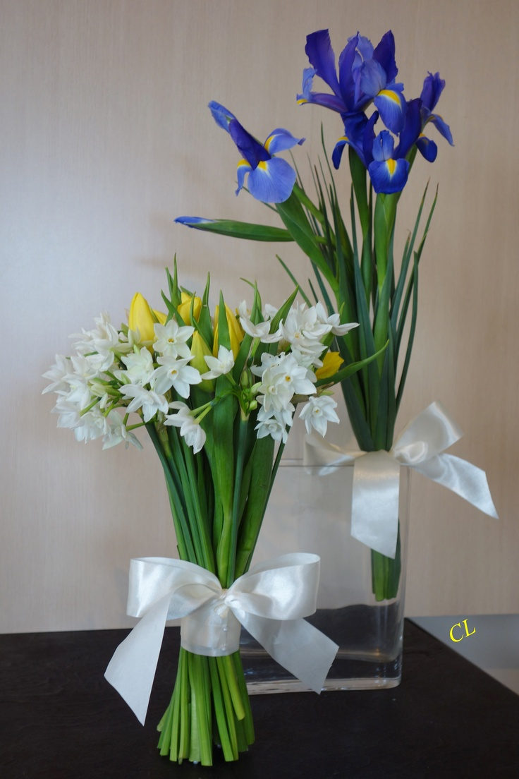 Tulips and jonquils for bridal bouquet and iris for bridesmaid's bouquet