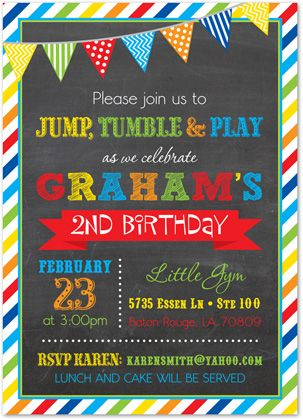 Brawny Stripe Frame Chalkboard Boy Birthday Invitations - Prime colors - Rainbow Colors - Great for Bounce House, Pump it Up and Gymnastic Gym Invitations