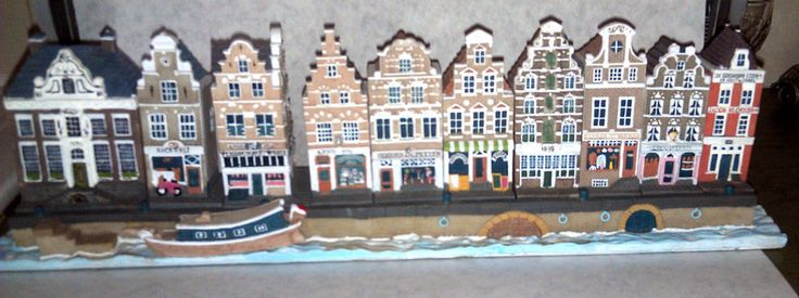 10 Dutch Miniature Houses set with a waterfront tray Hand Painted unique rare