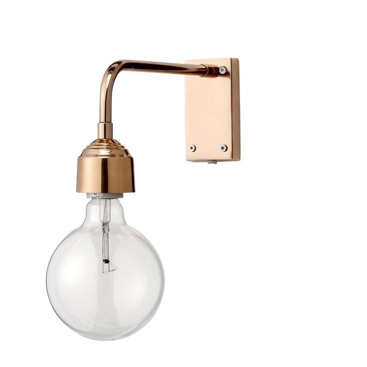 Industrial chic wall lighting from Out There Interiors. Copper-plated vintage filament bulb wall lamp