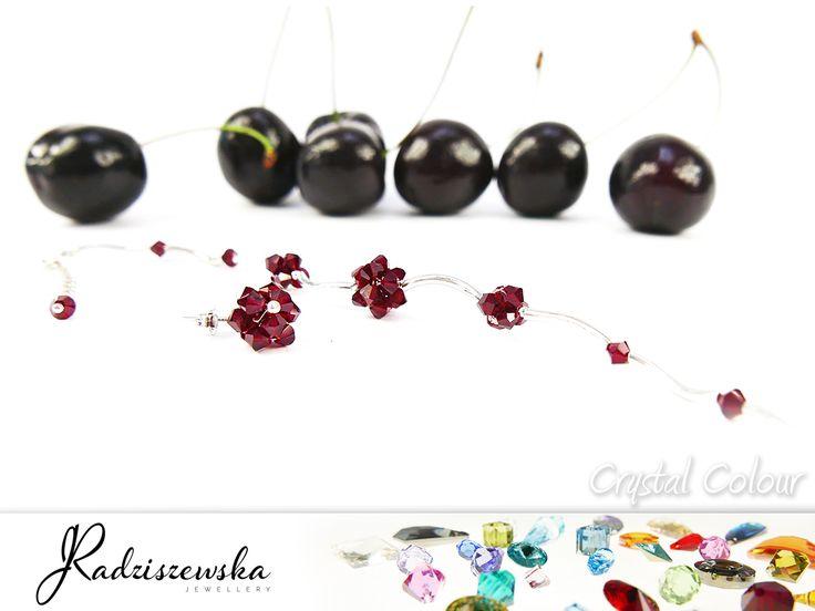 Komplet biżuterii z kryształami Swarovskiego. Biżuteria Jolanta Radziszewska.