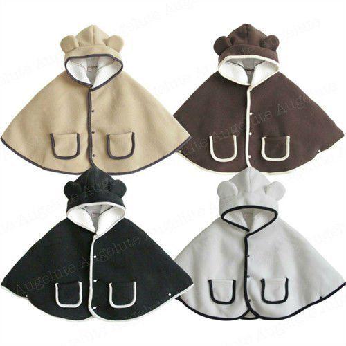 Free Fleece Poncho Pattern | ... Fleece Girls Boys Bear Design Outwear Jacket Top Coat Free Shipping BB