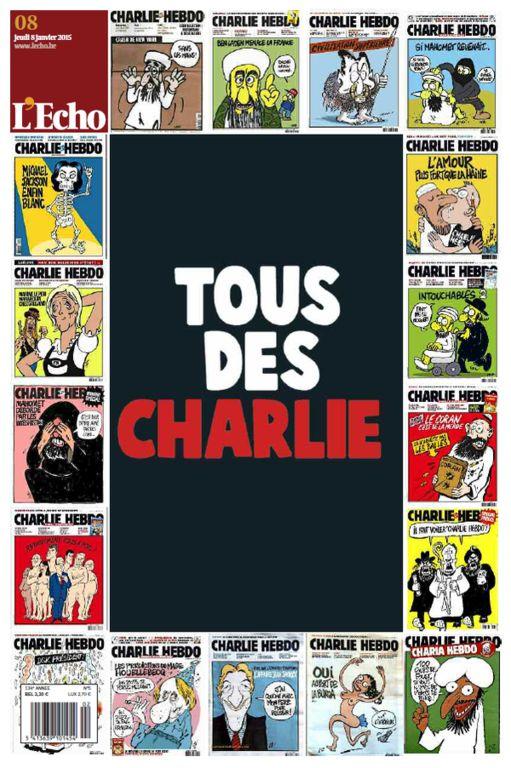 Charlie Hebdo : La Une de L'Echo du 8 janvier 2015....réépinglé par Maurie Daboux .•*`*•. ❥