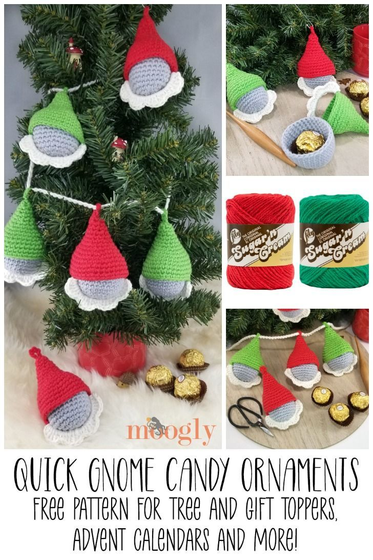 Quick Gnome Candy Ornaments Diy Christmas Tree Ornaments Crochet Christmas Gifts Candy Ornaments