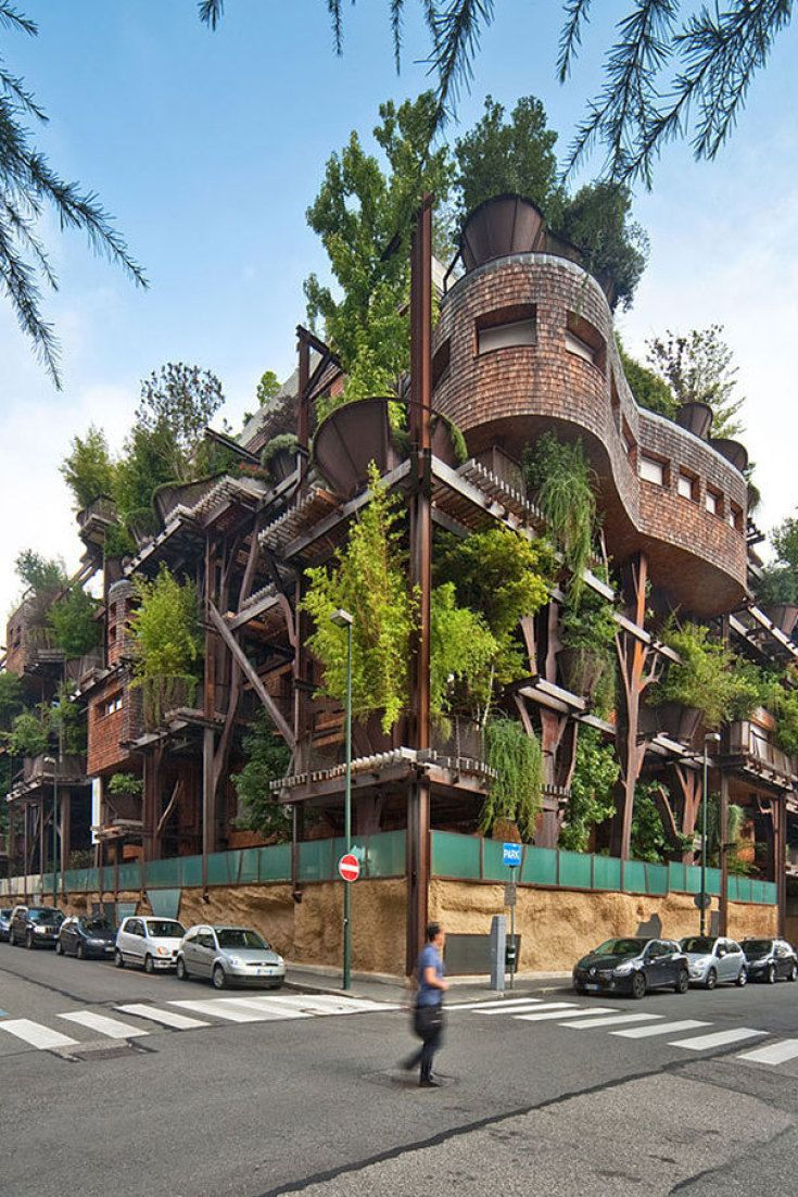 Italy's Epic Treehouse Apartments Fulfill Everyone's Childhood Dreams with 150 trees integrated into the design Bizee Body could not resist.  #fun