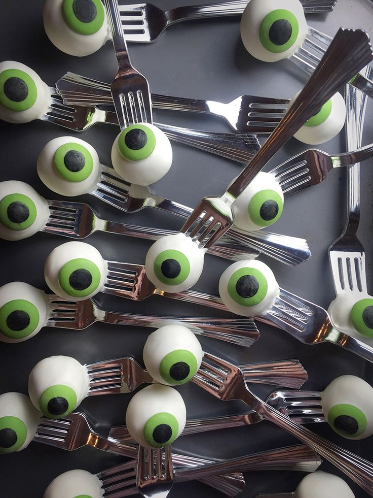 Eyeball cake pops on silver forks - so fun for Halloween!