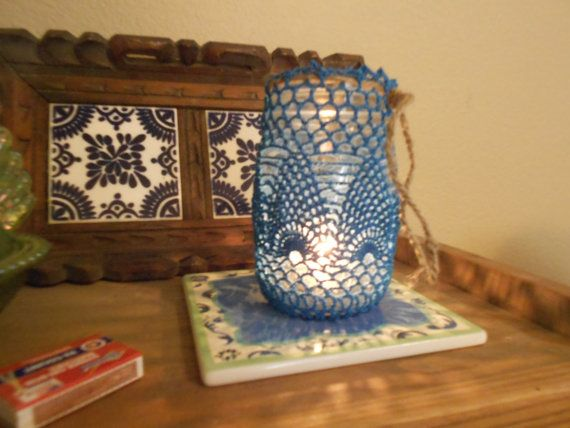 Hand Crocheted Blue Lace Pint Mason Jar Cover by UncommonlyGood, $5.00