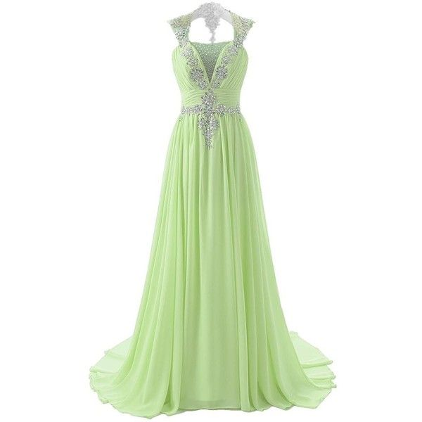 ASA Sparkling Crystals Evening Dresses Long Prom with Open Back (700 VEF) ❤ liked on Polyvore featuring dresses, long dresses, vestido, long prom dresses, sparkly dresses, open back prom dresses, prom dresses i green dress