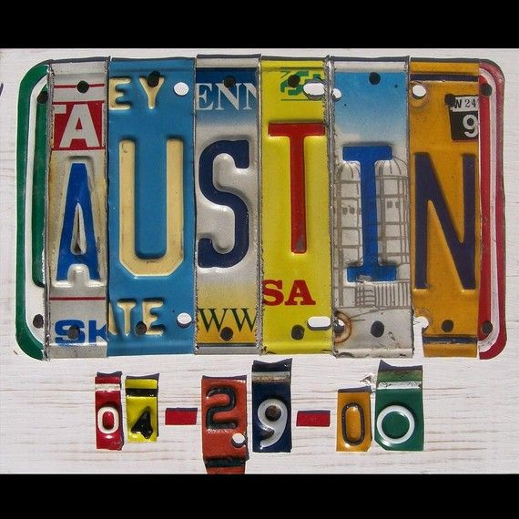 Personalized License Plate Art Sign Wedding by recycledartco