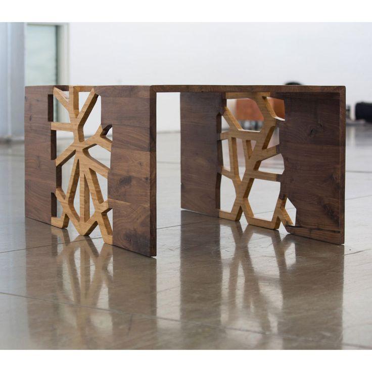 Handmade Organic Wood Mosaic Coffee Table   Great Geometric Visual