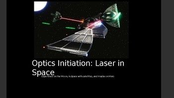 Powerpoint (I use Microsoft 2016). You can add, delete or modify the content.You can add your name, your class etc.The Powerpoint contains:OPTICS INITIATION: LASER IN SPACE (Experience on the Moon, in Space with satellites, and maybe on Mars)- What is a laser?- Can we manufacture the lighter sabers of Star Wars?- Lunar Laser Ranging Experiment- Satellite laser rangingand Laser communication in Space- Curiosity Rovers Laser- Travel with laser on Mars?
