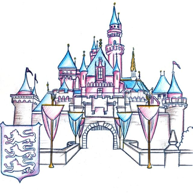 disneyland castle drawing google search