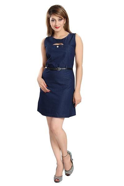 LadyIndia.com #Shorts, Designer Blue Color Slim Fit Denim Style Dress Sleeveless Midi Dresses For Girl, Shorts, Women Shorts, Denim Shorts, Western Wear, https://ladyindia.com/collections/western-wear/products/designer-blue-color-slim-fit-denim-style-dress-sleeveless-midi-dresses-for-girl?variant=32701747597