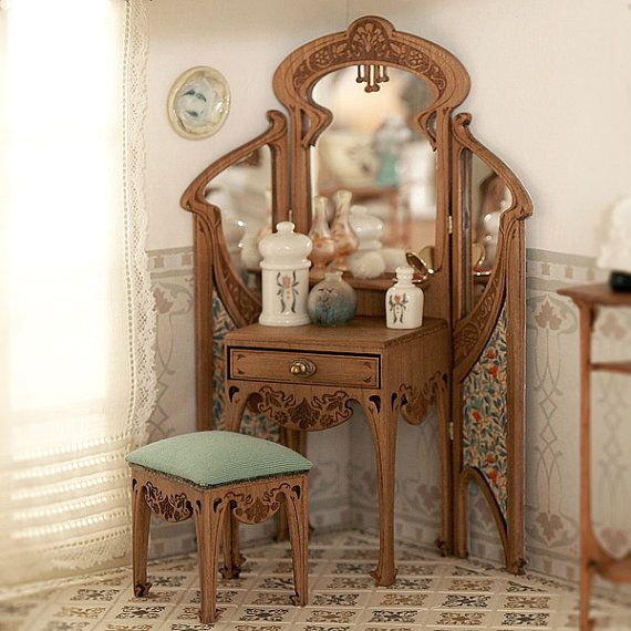 Art Nouveau dressing table and stool with padded by MINIATURAFR - I love the Art Nouveau theme & the detail is exquisite in all the pieces I have seen!