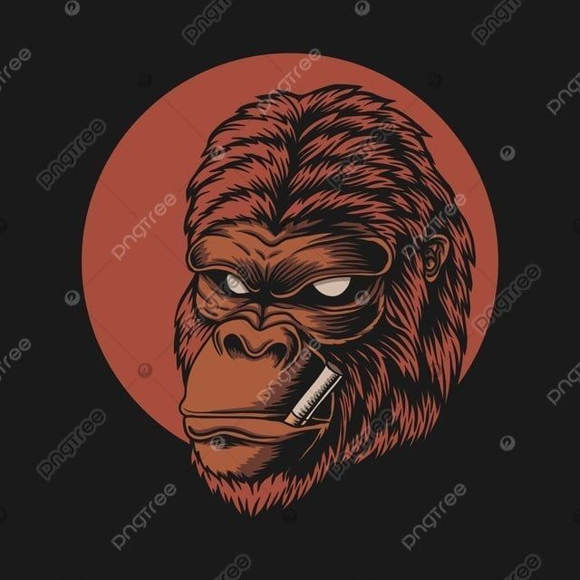 Gorilla Head Smoke Vector Illustration Angry Animal Ape Png And Vector With Transparent Background For Free Download