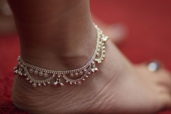 Old Indian Anklet Sterling Silver Foot Bracelet by YourPandoraBox