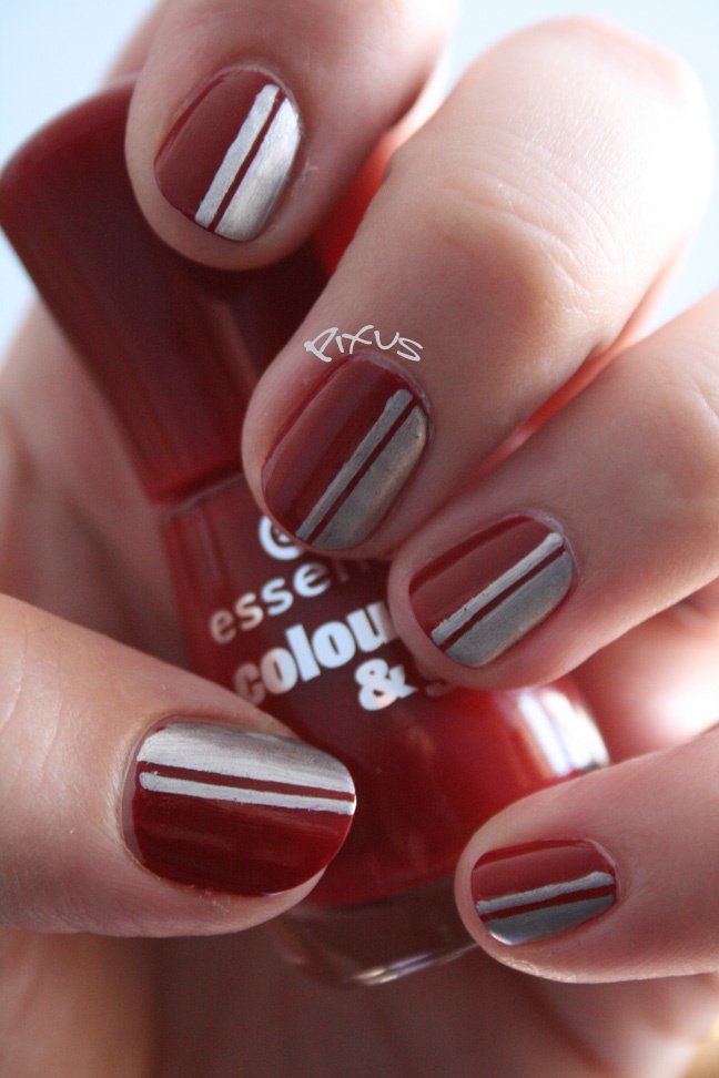 Red and silver - Racing stripe nail art.