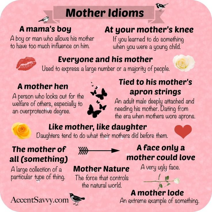 """Image result for Idioms in English with """"mother"""""""