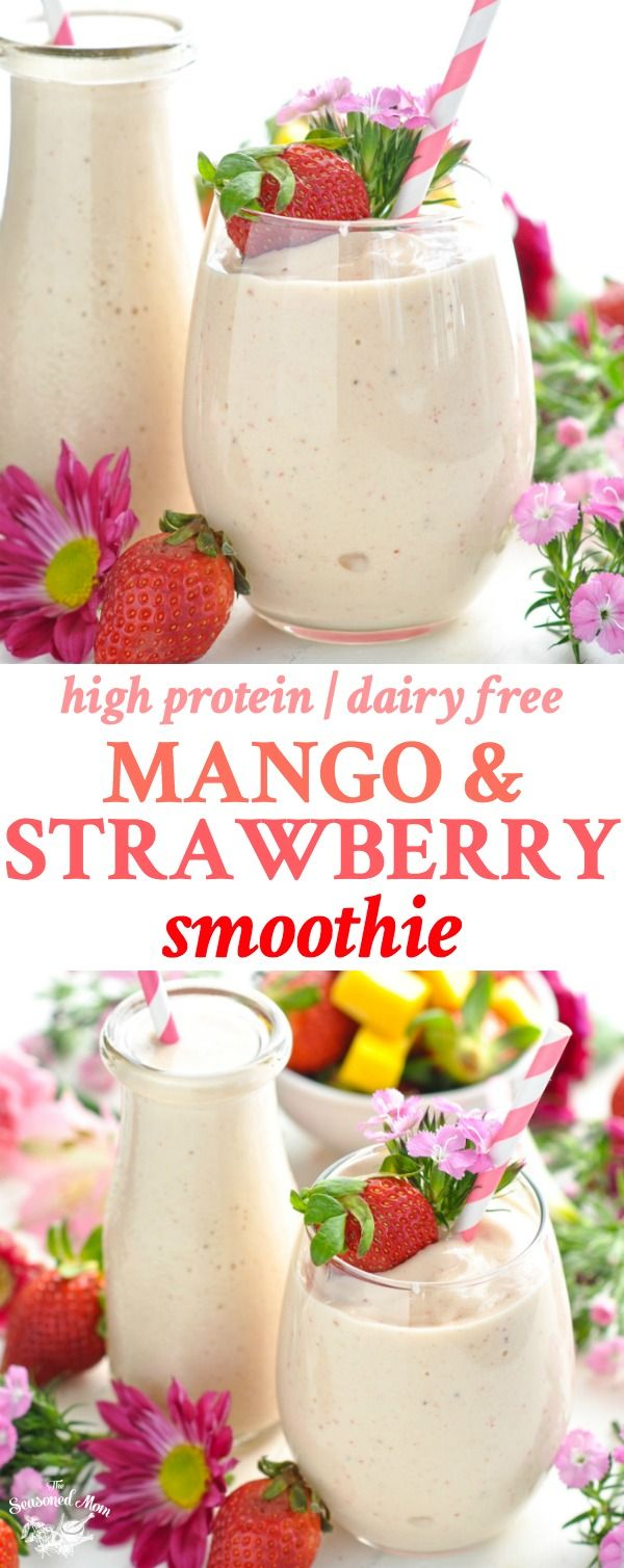 Long vertical image of dairy free high protein Mango and Strawberry Smoothie