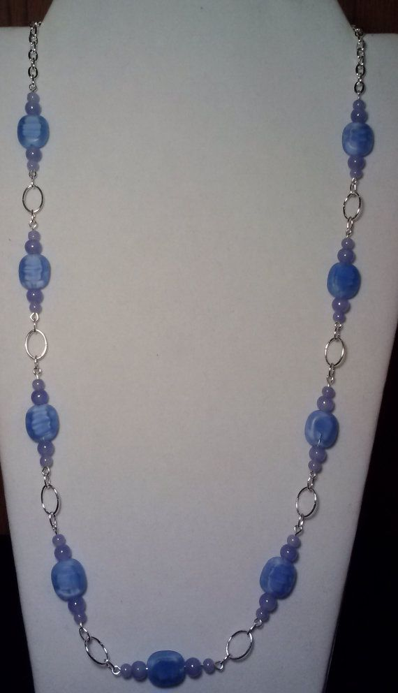 Handmade Beaded Necklace with Blue Swirl Lentils and Light Sapphire Beads on an Eye Pin Linked Chain, Colorful Elegant Fashion Jewelry