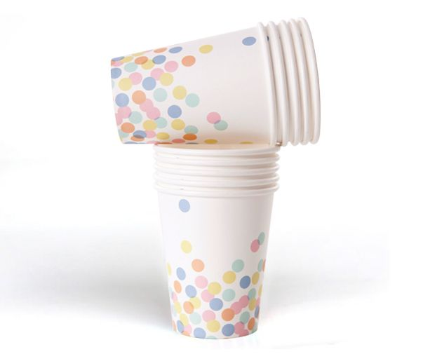 Gorgeous confetti paper cups!  Have your guests sipping their drink from a confetti of colours with these sublime paper cups!  #partyware #partycups #cups #event #styling #partyshop #partydecor #firstbirthday #wedding #engagement #bridalshower #babyshower #christening #teaparty #partytheme #paper #eventplanning #designerkids #designerbaby #homewares #designer #style #love #food #partyinspo #littlebooteekau #confetti #dots #colour