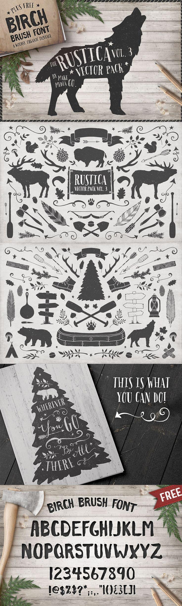 Birch font, plus great wilderness vector ideas