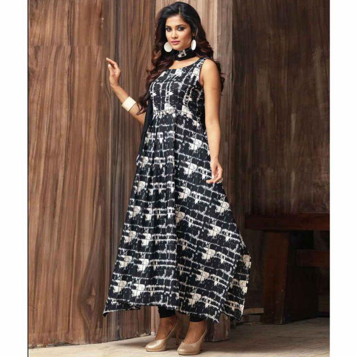 Cotton Black Printed Aline Style Kurti for Women #womensfashion #cottonkurtis #aline #blackkurti #indowesternkurti #fashion #shopping #style #kurtis
