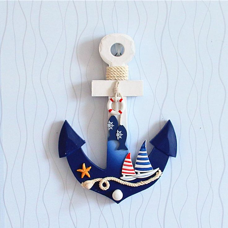 New Lovely Mediterranean Style Wooden Nautical Anchor Wall Hanging Hook Ship Star fish Decor Coat Door Rack купить на AliExpress