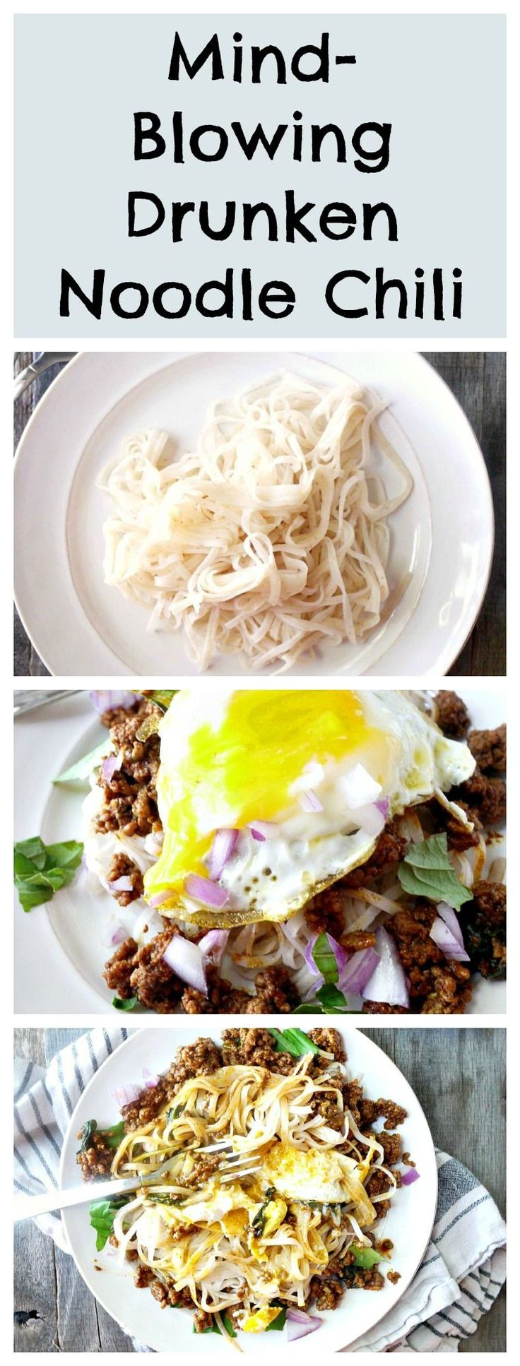 I love chili but I get bored of the same chili recipes each fall. This recipe will blow your mind. It combines the flavor of drunken noodles with classic chili. The runny fried egg on top takes it over the edge! #chili