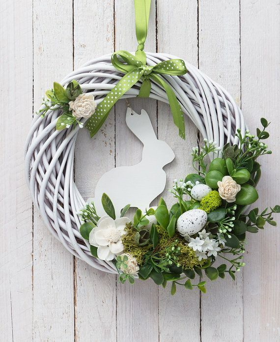 Easter wreath with white rabbit. Great mix of natural and everlasting elements: painted wicker base, moss, dried petals, artificial leaves and