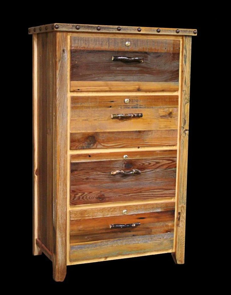 rustic barnwood locking lateral filing cabinet with nailheads 4 drawer reclaimed furniture design ideas