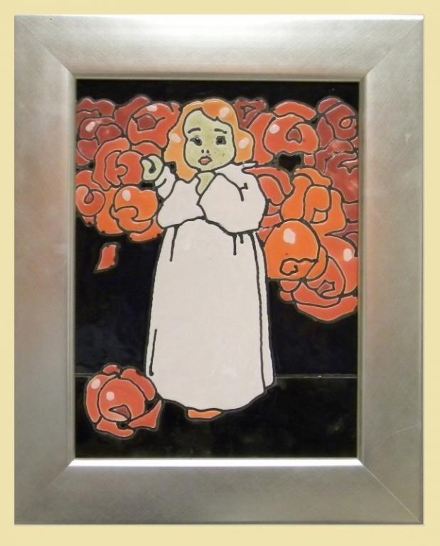 obrazek ceramiczny szkliwiony dziewczynka - KRAKÓW