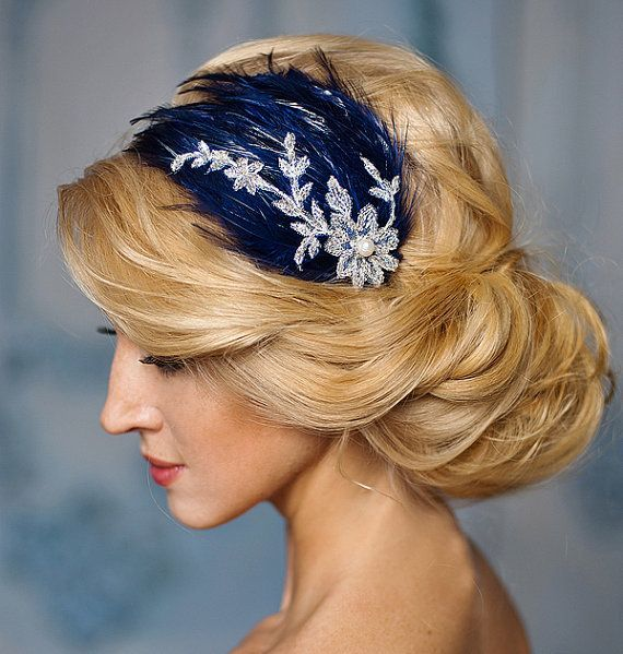 Vintage Feather fascinator, navy blue and silver lace feather headband, Prom,Bridesmaids- Melody