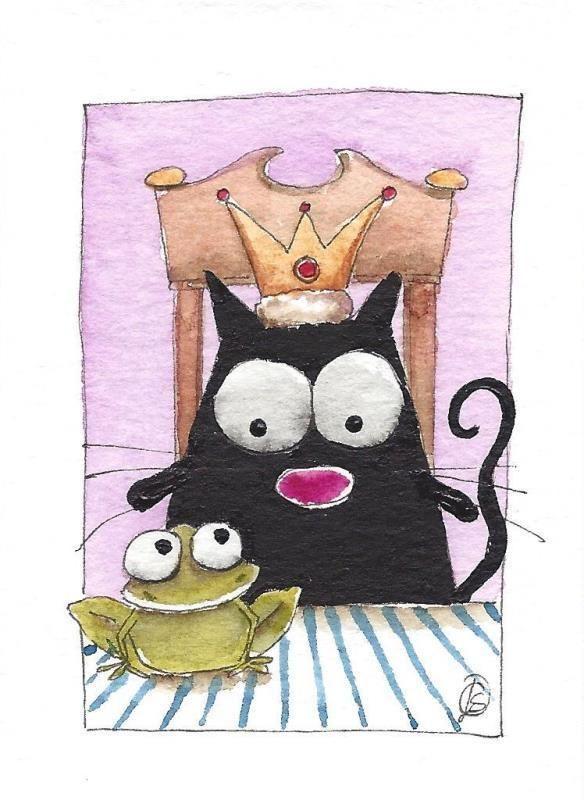ACEO Original watercolor painting whimsical fat black cat - Princess & the frog #IllustrationArt