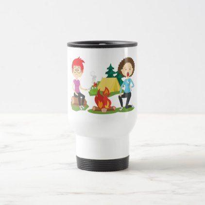 Girls Tent Camping Marshmallow Fire Travel Mug -nature diy customize sprecial design