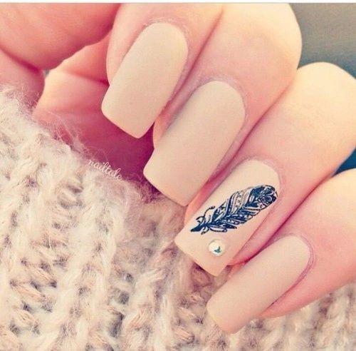 Uñas rosa con plumas pintadas - Pink acrilyc nails with feathers
