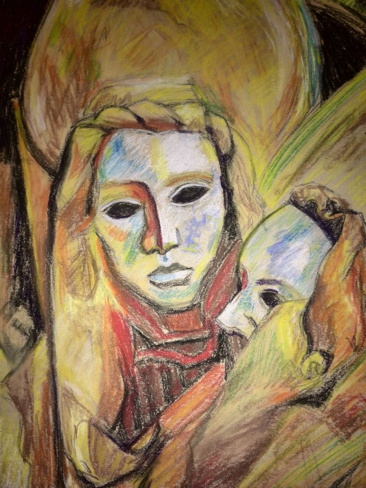 Venetian masks drawn in soft pastels. My copy of the painting by Marco Ortelan