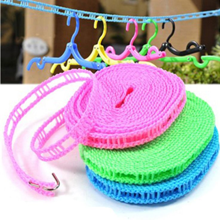 5M Outdoor Adjustable Windproof Nonslip Nylon Drying Clothesline Travel Laundry Line Rope Cord Household Essentials ZHH340