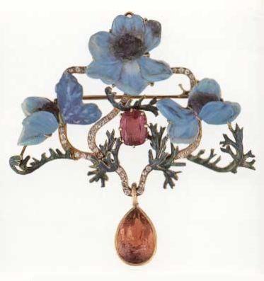 Lalique blue poppy brooch