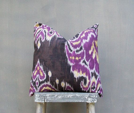 Purple Ikat Pillow Cover, Decorative Throw Pillow Covers, Brown Yellow Purple Pillow Case, Toss Pillow, Accent Pillow, 18x18 Pillow