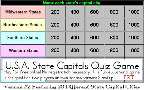 State Capitals Quiz Game - Free to Play Online! Twenty states and capitals. Grades 3 and up. Play as pairs or as class teams.